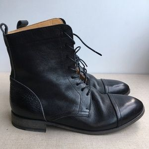 Men EU 40 Black All Leather Lace-Up High Boots